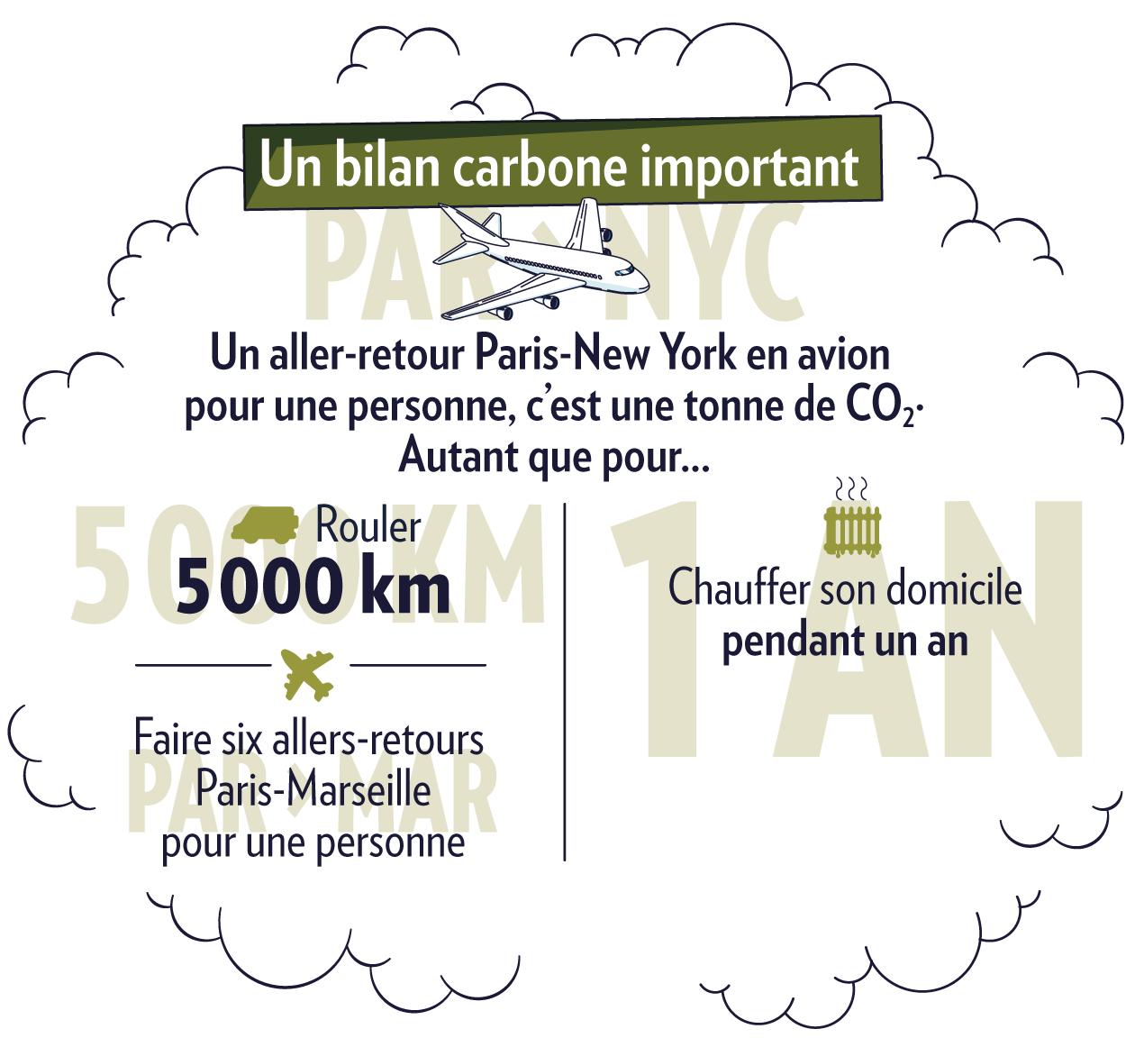 Emissions de CO2 de l'avion comparées à d'autres consommations
