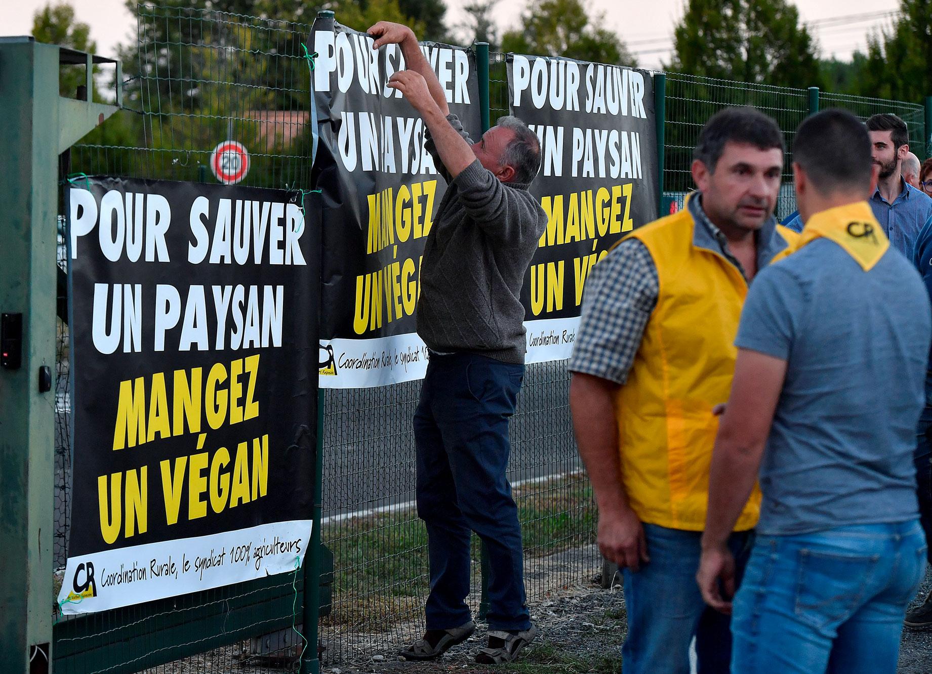 Agriculteurs lors d'une manifestation anti-vegan