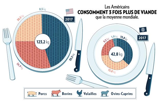 Infographie sur la consommation de viande aux Etats-Unis